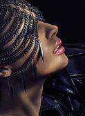 Sensual lady wearing chain mask — Stock Photo