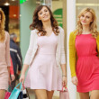 Three ladies during the shopping day — Stock Photo