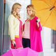 Attractive girlfreinds carrying the umbrellas — Stock fotografie