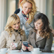 Group of the smiling women in the coffee shop — Stock Photo #43267583