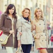 Three attractive ladies during spring day — Stock Photo