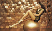 Sexy woman on a big ball — Foto de Stock