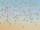 Lots of golden balloons flying up to the sky — Foto de Stock
