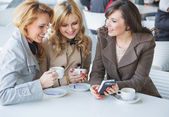 Female friends at the cofee time — Foto de Stock