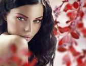 Sensual brunette lady over the petals background — Stock Photo