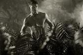 Black&white photo of the naked male model — Stock Photo