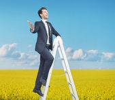Sprytny biznesmen stojąc na drabinie — Zdjęcie stockowe