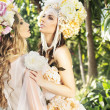 Fantsatic nymphs enjoying the summer in the forest — Stock Photo
