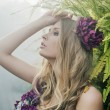 Blonde in the tropical forest — Stock Photo