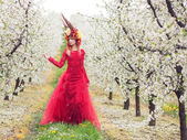 Lady Spring in the cherry orchard — Stock Photo