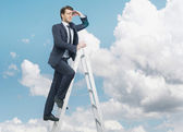 Succesful businessman on the top of the business — Stock Photo