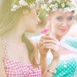Alluring nymphs resting in the garden — Stock Photo