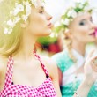 Two gorgeus women in the fresh garden — Stock Photo #49033215