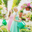 Two rustic girls in the green house — Stock Photo