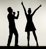Happy couple during the dance — Stock Photo