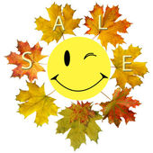 Smile and maple leaf — Stock Photo