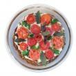 Foto Stock: Liver pie with tomato and verdure