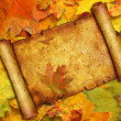Stok fotoğraf: Vellum on background from maple leaves