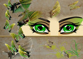 Green eye and green butterfly — Stock Photo