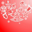 Vector de stock : Cristmas balls and fir tree with snowflake