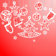 图库矢量图片: Cristmas balls and fir tree with snowflake
