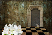 White lily and chess board grunge — Stok fotoğraf