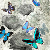 Butterfly and flowers grunge — Stock Photo