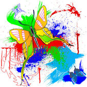 Paint and butterfly — Stock Vector