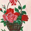 Basket with red rose  — Stock Photo