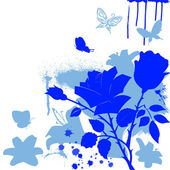 Blue flowers and butterfly — Stock Vector