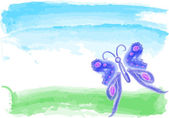 Blue butterfly watercolor — Stockvektor