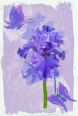 Blue iris and blue butterfly watercolors — Stock Photo