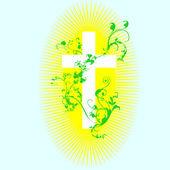 Christelijke kruis en plant 2 — Stockvector