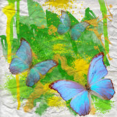 Blue butterfly on watercolor background — Stock Photo