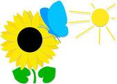 Blue butterfly on sunflower — Vetorial Stock
