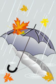 Autumn rain and forgotten umbrella — Stock Vector