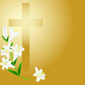 Cruz cristiana en el fondo del amanecer — Vector de stock