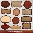 Set Wooden labels retro vintage classic - Stock Vector