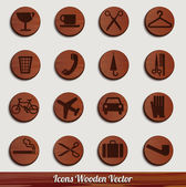 Dark wooden icon set with different signs — Stock Vector