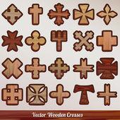 Set vector wooden crossed — Stock Vector