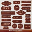 Dark wooden icon set plaques — Stock Vector #13254775