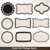 Vektör çerçeve etiketleri kümesi süs vintage dekorasyon — Stok Vektör