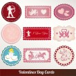 Vector set card of valentine's day vintage - Stock Vector