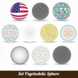 Set of vector color psychedelic spheres - Stok Vektör