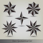 Set stars lots vector 3d — Stock Vector