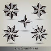 Set stars lots vector 3d — Stock Vector