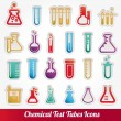 Chemical test tubes icons illustration vector - Stockvektor