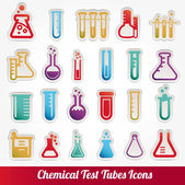 Chemical test tubes icons illustration vector — Stock Vector