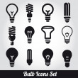 Stok Vektör: Light bulbs. Bulb icon set