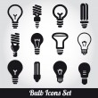 Light bulbs. Bulb icon set - Stok Vektör